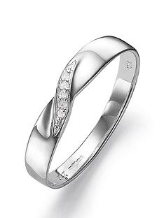 Love GOLD 9 Carat White Gold Diamond Set 3mm Wedding Band