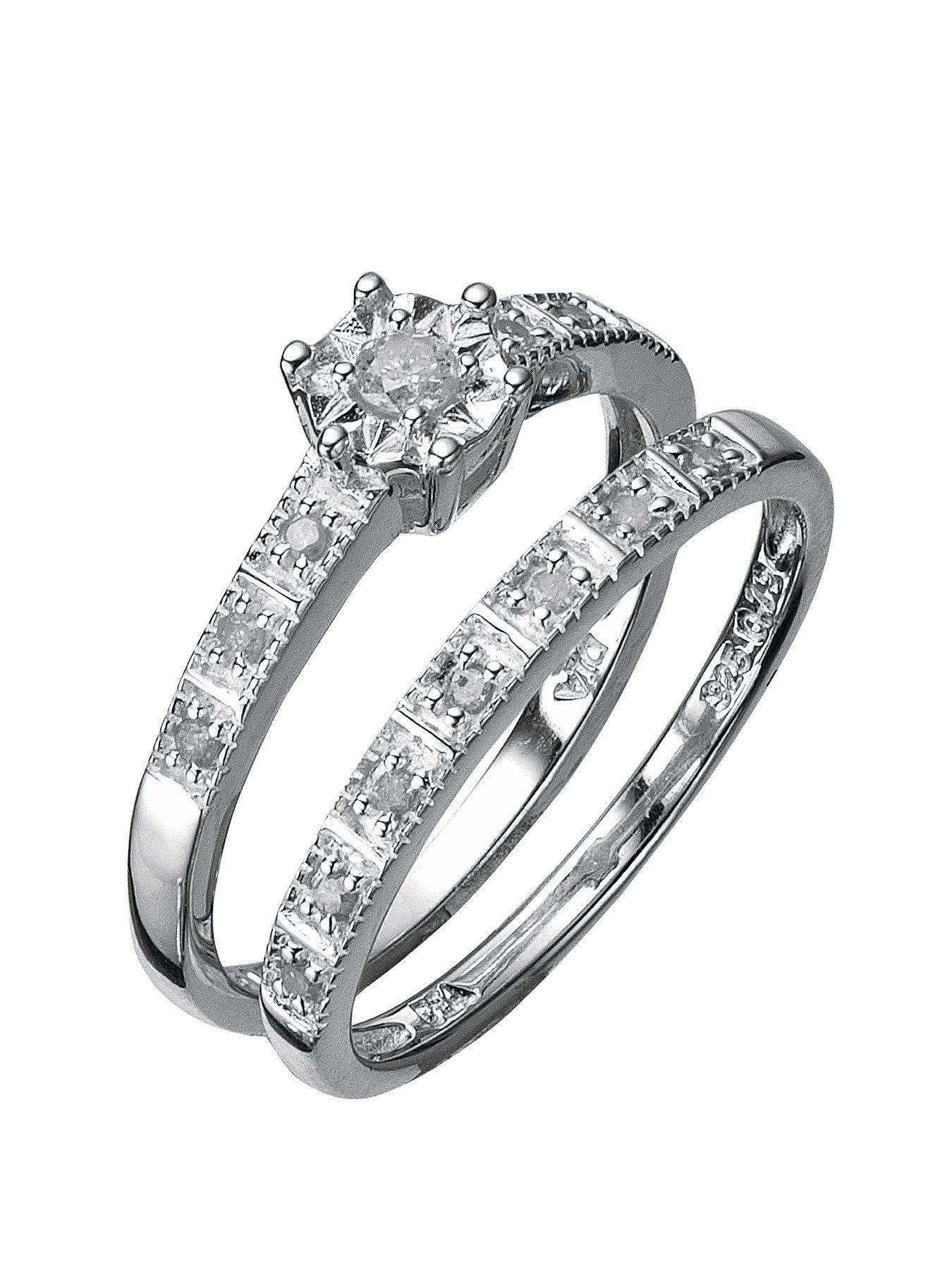Love DIAMOND Sterling Silver 13 Point Diamond Bridal Set verycouk