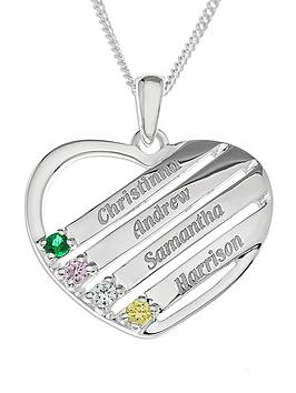 the-love-silver-collection-sterling-silver-personalised-gem-set-heart-pendant