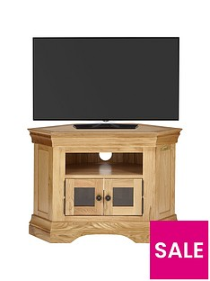 Luxe Collection Constance Oak Ready Assembled Corner TV Unit - fits up to 50 inch TV
