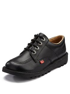 11dd8719daa Kickers Leather Lace-up Kick Lo Core School Shoes - Black