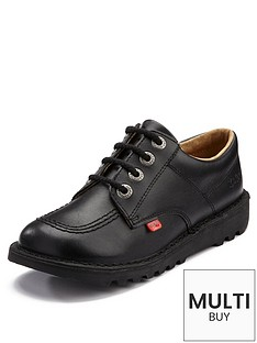 7e17a3d5e599 Kickers Leather Lace-up Kick Lo Core School Shoes - Black