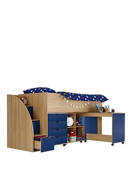 kidspace-milo-mid-sleeper-kids-bed-frame-with-storage-steps-and-mattress-options-buy-and-save
