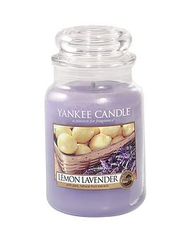 Product photograph showing Yankee Candle Large Jar Candle - Lemon Lavender