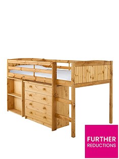 kidspace-georgie-solid-pine-mid-sleeper-bed-frame-with-desk-and-storage-white