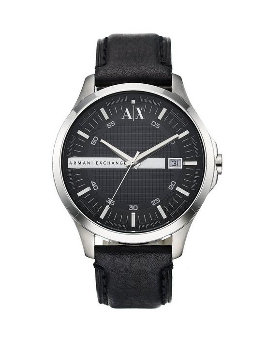 95e401661d5 Armani Exchange Black Leather Strap Mens Watch