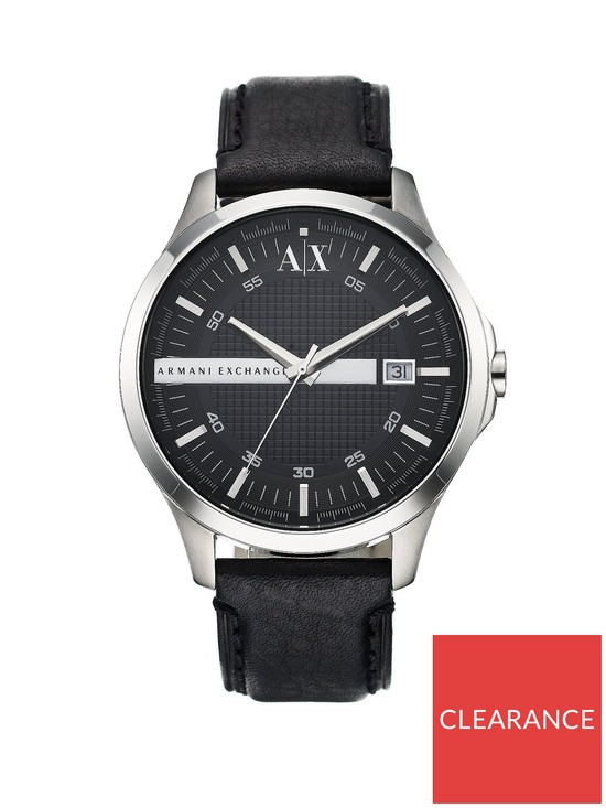 55d237d0 Black Leather Strap Mens Watch