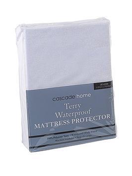 cascade-home-terry-waterproof-mattress-protector-23cm-depth
