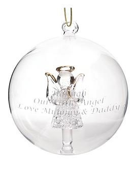 Personalised Glass Angel Bauble Christmas Tree Decoration  verycouk