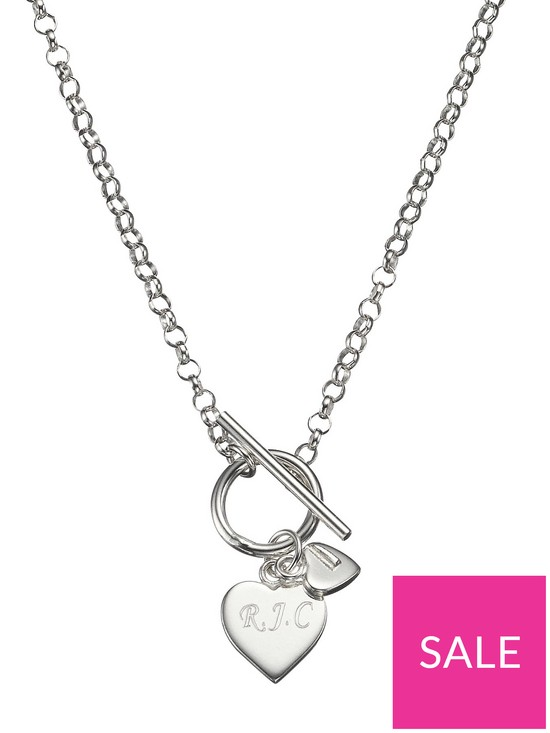 b02de8cc3 The Love Silver Collection Personalised Sterling Silver Double Heart Drop T-Bar  Necklace