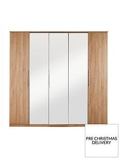 Prague 5-Door Mirrored Wardrobe