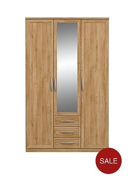 oslo-3-door-3-drawer-mirrored-wardrobe