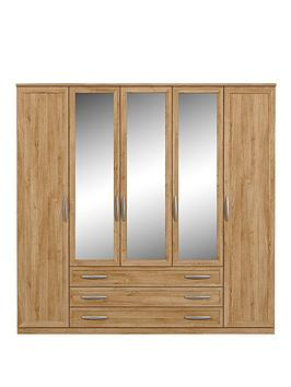 oslo-5-door-3-drawer-mirrored-wardrobe