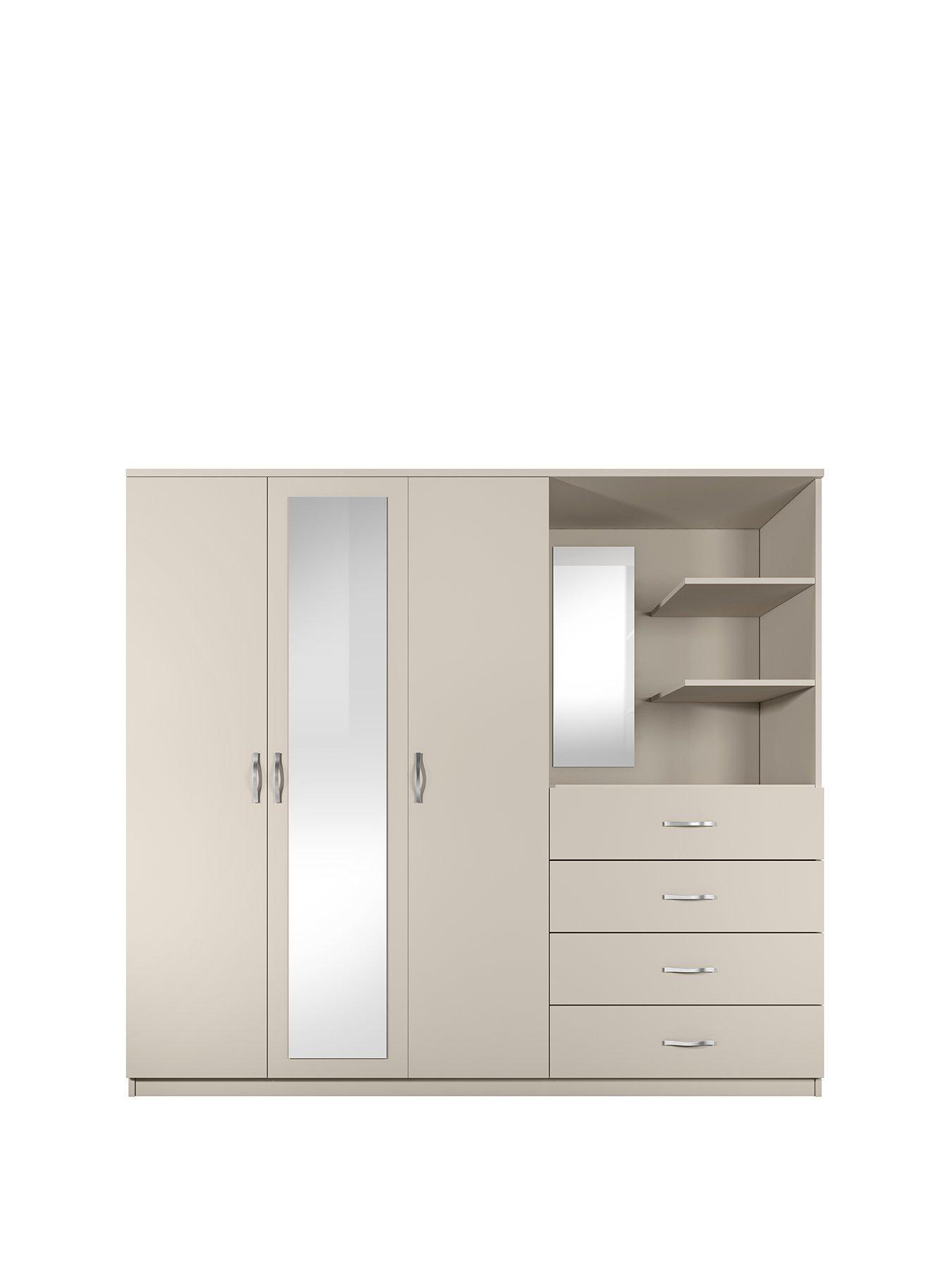 Peru 3 Door, 4 Drawer Mirrored Combi Wardrobe
