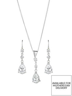 the-love-silver-collection-sterling-silver-cubic-zirconia-teardrop-earring-and-pendant-set
