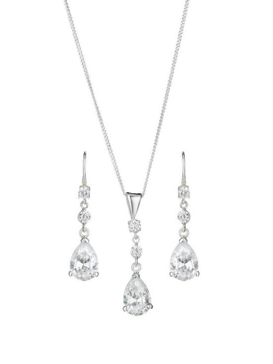 d41e26dcf The Love Silver Collection Sterling Silver Cubic Zirconia Teardrop Earring  and Pendant Set