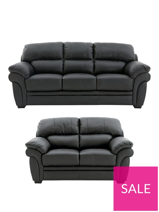 Portland 3 Seater + 2 Seater Leather Sofa (Buy and SAVE!) | very.co.uk