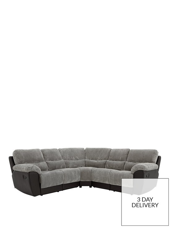 Sienna Fabric/Faux Leather Recliner Corner Group Sofa | very.co.uk