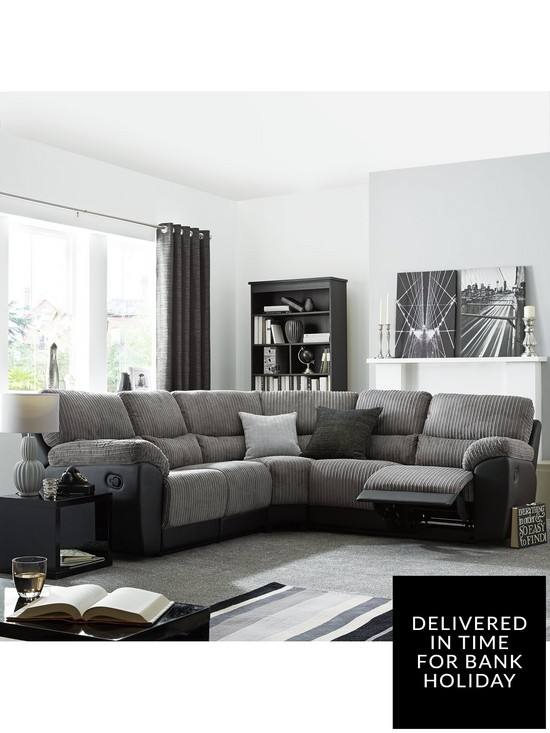 Sienna Fabric/Faux Leather Recliner Corner Group Sofa