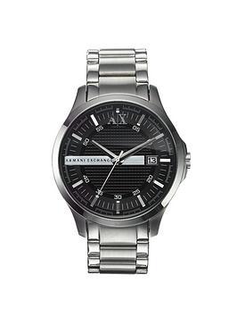 armani exchange stainless steel black dial mens watch very co uk