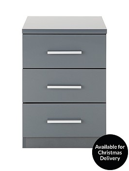 Prague Gloss Drawer Bedside Chest Verycouk - Black gloss chest of drawers