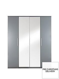 Prague Gloss 4-Door Mirrored Wardrobe