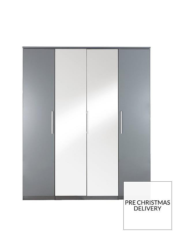 check out db32f 296fd Prague Gloss 4-Door Mirrored Wardrobe