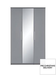 Prague Gloss 3-Door Mirrored Wardrobe