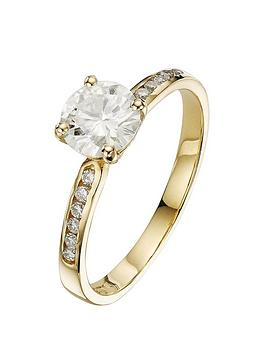 moissanite-9-carat-yellow-gold-100pt-solitaire-ring-with-set-shoulders
