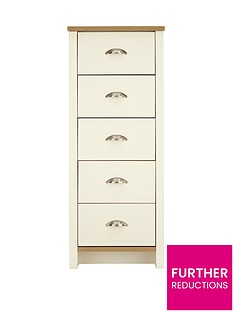 Consort Tivoli Ready Assembled Tall Narrow Chest of 5 Drawers (5 Day Express Delivery)