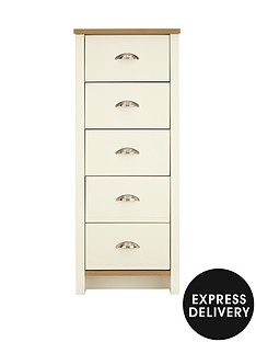Consort Tivoli Ready Assembled Tall Narrow Chest of 5 Drawers
