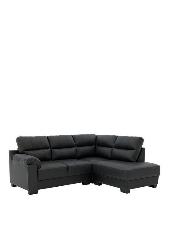 Saskia Leather/Faux Leather Right Hand Compact Corner Chaise Sofa ...