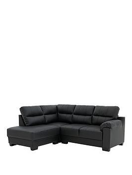 Saskia Leather/Real Leather Left Hand Compact Corner Chaise Sofa