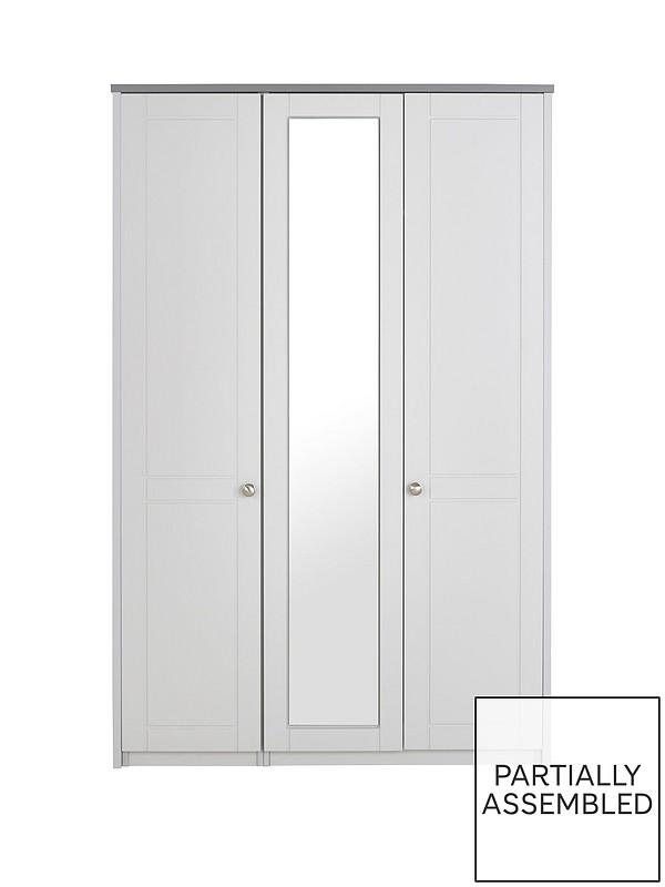 Alderley Part Assembled 3 Door Mirrored Wardrobe Very Co Uk