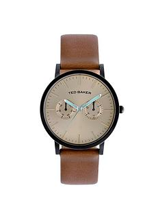 ted-baker-mens-tan-strap-gold-dial-watch