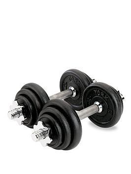 york-20kg-black-cast-iron-dumbbell-set