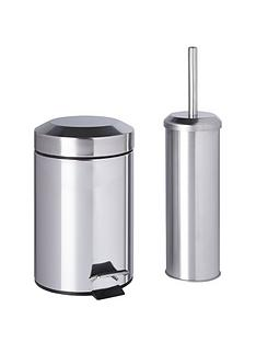 sabichi bathroom bin and brush set - Bathroom Accessories Uk