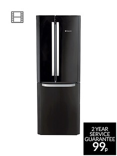 Hotpoint Day 1 FFU3DK American Style, 70cm Wide, Frost-Free Fridge Freezer, A+ Energy Rating - Black Best Price, Cheapest Prices