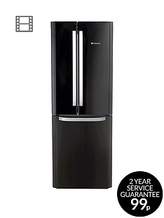 Hotpoint Day 1 FFU3DK American Style,70cmWide, Frost-Free Fridge Freezer, A+ Energy Rating - Black
