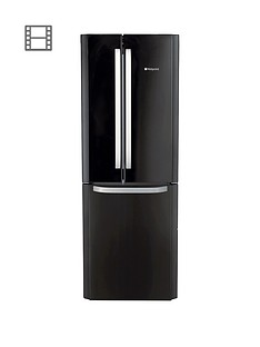 Hotpoint Day 1 FFU3DK American Style, 70cm Wide, Frost-Free Fridge Freezer A+ Energy Rating - Black