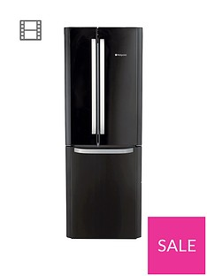 Hotpoint Day1 FFU3DK American Style, 70cm Wide, Frost-Free Fridge Freezer, A+ Energy Rating - Black Best Price, Cheapest Prices