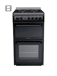 Hotpoint Newstyle HAGL51K 50cm Twin Cavity Gas Cooker with FSD - Black