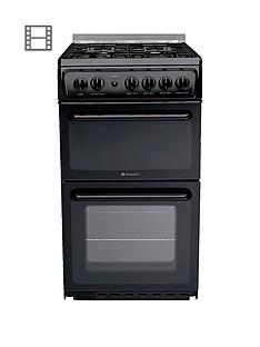 Hotpoint NewstyleHAGL51K 50cm Twin Cavity Gas Cooker with FSD - Black