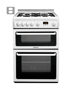 Hotpoint Newstyle HAGL60P 60cm Double Oven Gas Cooker with FSD - White