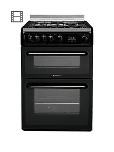 Hotpoint Newstyle HAGL60K 60cm Double Oven Gas Cooker with FSD - Black