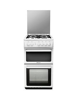 hotpoint-hagl51p-50cm-twin-cavity-gas-cooker-with-fsd-white
