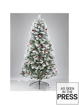 7ft-bavarian-pine-flocked-christmas-tree-with-cones-and-berries