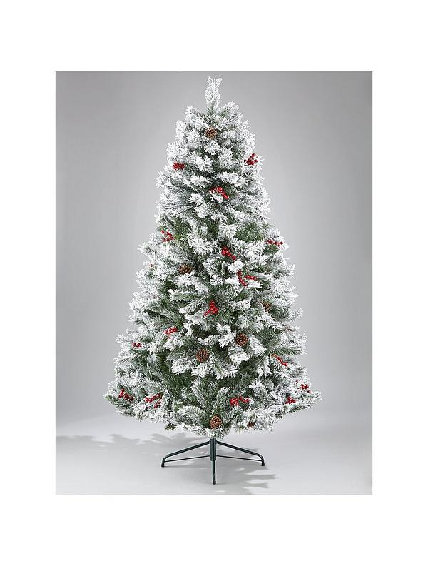 pretty nice 3dcb4 b970e 7ft Bavarian Pine Flocked Christmas Tree with Cones and Berries