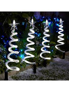 curly pathfinders outdoor christmas decorations 4 pack