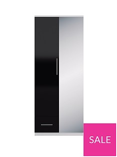 Cologne Gloss 2-Door, 1-Drawer Wardrobe
